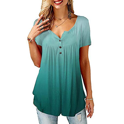 LANHAI Tunika Damen Blumen T-Shirt Kurzarm V-Ausschnitt Henley Bedruckt Knopfleiste Plissiert Oberteil Locker Bluse Tunika Tops
