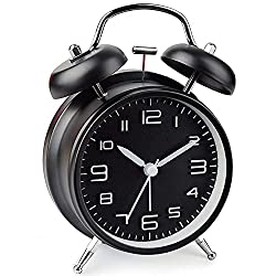 Analog Alarm Clock,4 inches Twin Bell Alarm Clock with Night Light,Battery Operated, Loud Alarm Clock for Heavy Sleepers