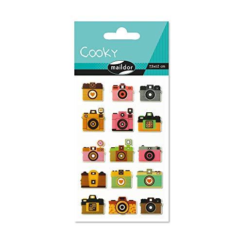 Maildor CY034O Packung mit Stickers Cooky 3D (1 Bogen, 7,5 x 12 cm, ideal zum Dekorieren, Sammeln oder Verschenken, Fotoapparate) 1 Pack