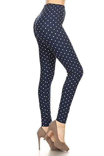 R987-OS Retro Polka Dots Print Leggings