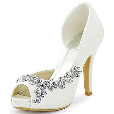 ElegantPark HP1560IAC Women's Peep Toe Platform High Heel Rhinestones Satin Wedding Party Dress Shoes Ivory US 7