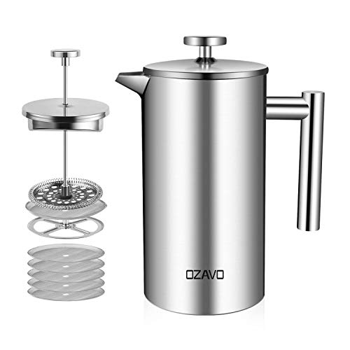 OZAVO Cafetière à Piston 1L INOX Isotherme French...