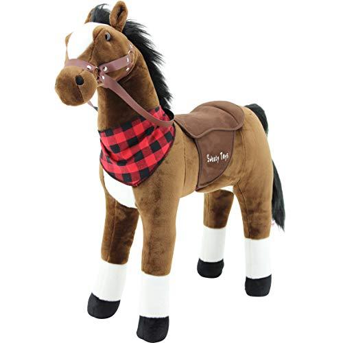 Sweety Toys 7653 Plüsch Stehpferd Sicherheit ! Little Champ Höhe 80 cm Riesenpferd Robustes, stabiles Reitpferd Stahlunterbau Keine STYROPORFORM- sehr robust , kein Wackeln,
