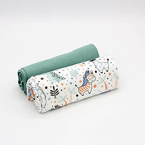 Kleines Stoffpaket - 0,5m Baumwoll-Jersey Stoff + 0,5m Bündchen Nele - zum Nähen von Kinderbekleidung - Kinderstoff - Muster-Mix (Safari Ecru + Bündchen Mint)
