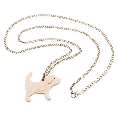 Houten halsketting voor honden, ca. 70 cm lange ketting - hond hanger brons dog tag