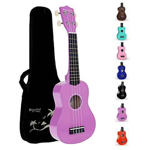 Strong Wind Soprano Ukulele for Kids and Beginners 21inch ukeleles with Gig Bag(Purple)