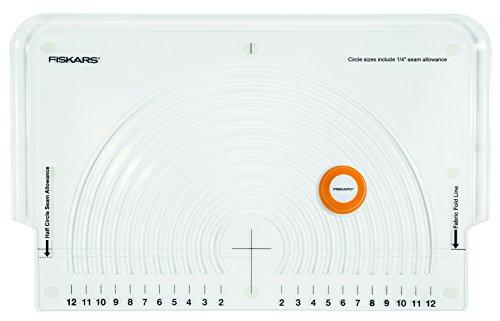 Fiskars Taglierino con guide di taglio circolari per tessuti, Con 11 diametri diversi, Lama in acciaio, 1023904