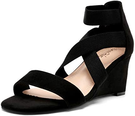 DREAM PAIRS Women s Black Elastic Ankle Strap Open Toe Strappy Dress Low Wedge Sandals for Ladies product image