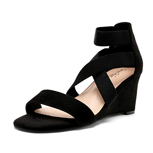 DREAM PAIRS Women's Black Elastic Ankle Strap Open Toe Strappy Dress Low Wedge Sandals for Ladies Size 8 M US...