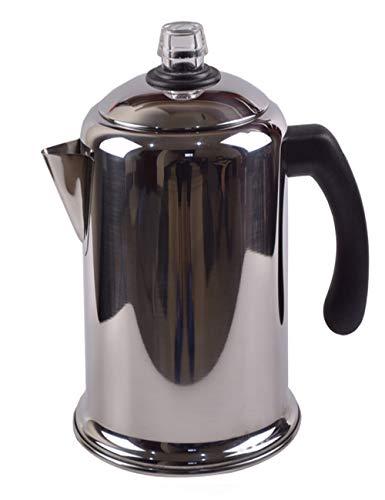Cafetera de acero inoxidable 304 Moka con proceso de pulido, capacidad de filtro integrado, 1700 ml, hervidor de agua para exteriores 15 tazas