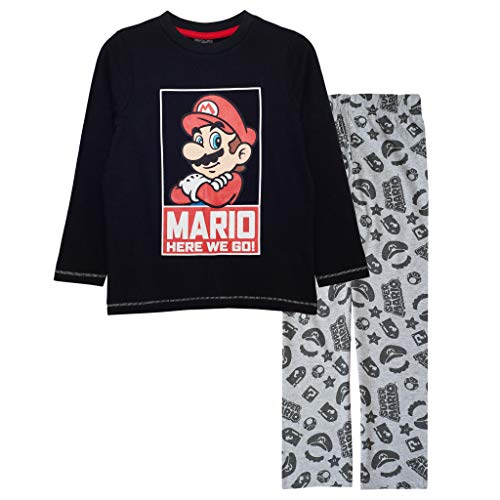 Super Mario Auf geht's Jungen Lange Pyjamas Set Schwarz/Weiß Heather Grey 152 | 1980...