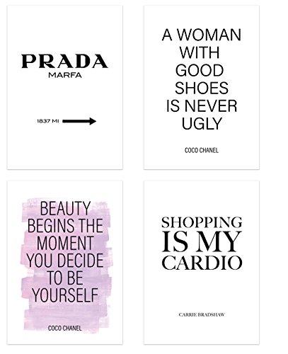 PICSonPAPER - Juego de 4 pósteres de belleza y moda, sin marco, DIN A4, Marfa, Coco, decoración, decoración de pared, regalo, moda (sin enmarcar DIN A4)