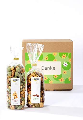 Geschenkbox DANKE von Jalall D\'or | Paradies-Futter & Drachen-Gold | 2 exklusive Trockenfrucht-Nussmischungen | Dankeschön-Geschenk Mann & Frau | DANKESCHÖN für Männer & Frauen | Weihnachtsgeschenk