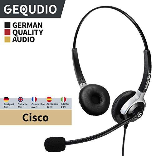 Business Headset geeignet für Cisco ® Telefone - IP Phone mit RJ-Anschluss | Anschlusskabel inklusive | 80g leicht