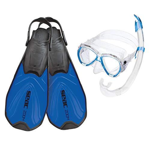 Seac Kinder Set Zoom Schnorchelset Taucherbrille Mit Schnorchel Und Flossen, blau, 32-35