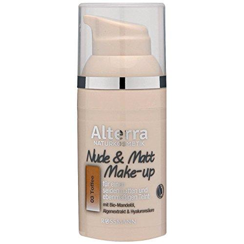 Alterra Nude & Matt Make-up 30 ml Farbe 03: Toffee, für einen seidenmatten & ebenmäßigen Teint, mit Bio-Mandelöl, Alegenextrakt & Hyaluronsäure, vegan, zertifizierte Naturkosmetik