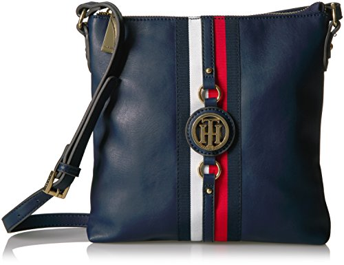 Tommy Hilfiger Crossbody Bag for Women Jaden, Navy Polyvinyl Chloride