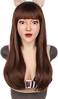 Realistische vrouw gezicht halloween latex masker met pruik lady cross-dressing sissy transgender kostuum