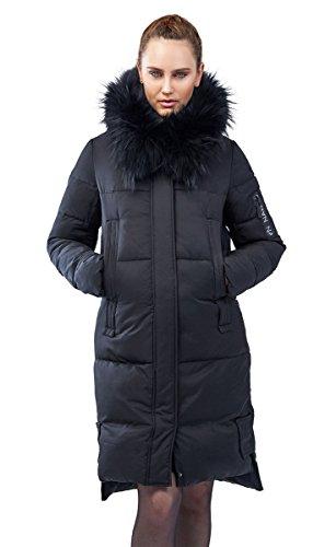 Grimada 111CH dames donsjack parka winter jas CLASNA met echte bont capuchon fotoprint op de rug in zwart