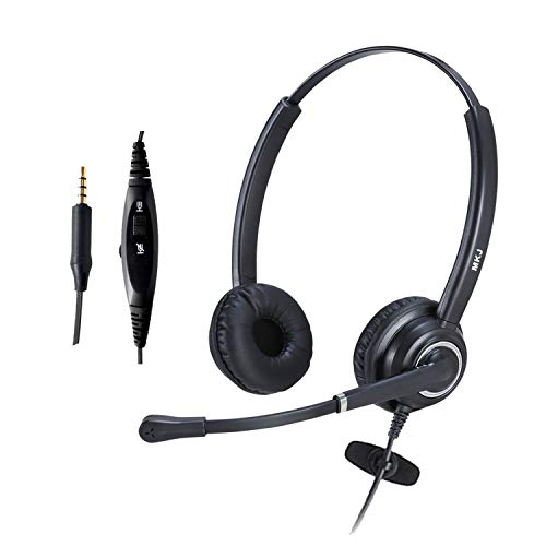 MKJ 3.5mm Headset with Noise Cancelling Microphone Corded Binaural Cell Phone Headset with MIC Volume Mute for Computers Laptops Tablets Smartphones etc