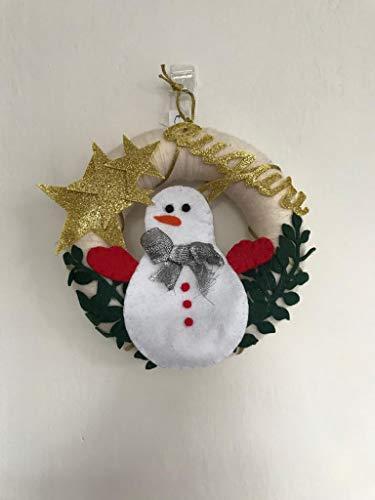 ghirlanda fuoriporta natalizia con pupazzo di neve