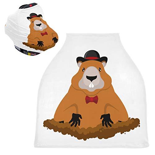 Sinestour Fundas de asiento de coche para bebé con sombrero, para día de marmota, 4 en 1, cubierta de lactancia, cubierta multiusos para asiento de coche, para niños y niñas, regalo de ducha