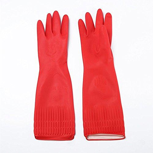 FairOnly 38 cm lange Küchenhandschuhe, wasserdicht, elastisch, Gummihandschuh, Esszimmer-Geschirrreinigung, rot, M Notwendigkeiten