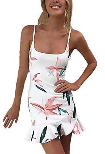 Mujer Vestido Verano Corto Elegantes Sin Mangas Espalda Descubierta Ropa Dama Moderno Slim Fit Volantes Casual Vestidos Lapiz Flores Impresión Vestidos Cortos