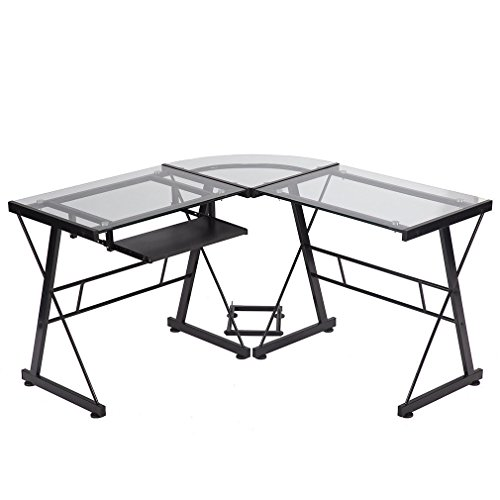 Best Computer Gaming Desk Modern PC Office L Shaped Desk with Free CPU Stand and Keyboard Tray, Toughened Glass Home Large Work Space Corner Study Desk Workstation, Space-Saving, Easy to Assemble