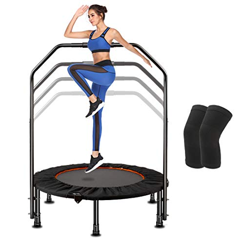 CLORIS 2020 Newest 40IN Mini Fitness Trampoline with Adjustable Handrail Bar – Foldable Portable Trampoline,Best Indoor Aerobic Exercise Tool – Maximum Load 400 lbs(with Knee Protection Pads)