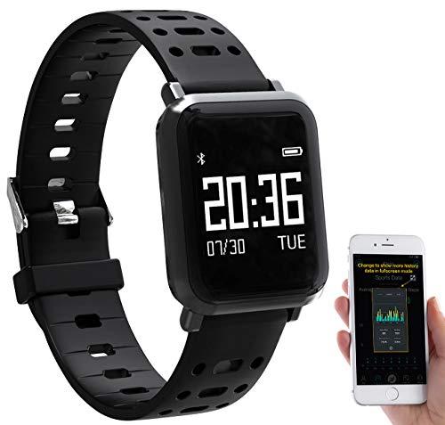 Newgen Medicals Uhr mit Blutdruckmesser: Fitness-Uhr mit Blutdruck- & Herzfrequenz-Anzeige, Bluetooth 4.0, IP68 (Fitnessuhr mit Blutdruckmessung)