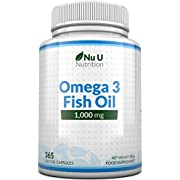 Omega 3 Fish Oil 1000mg - 365 Softgel Capsules - Up to 12 Month's Supply - Pure Fish Oil with Balanced EPA & DHA - Contaminant Free Omega 3 - Made in the UK by Nu U Nutrition