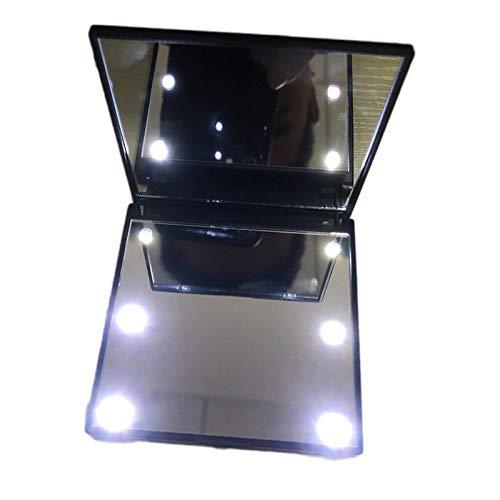 MomokaiTK Lampe Miroir Les Femmes Dames composent Le Miroir portatif Se Pliant cosmétique Compact avec des lumières, Noir