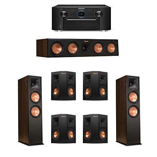 Klipsch 7.0 Walnut System with 2 RP-280F Tower Speakers, 1 RP-450C Center Speaker, 4 Klipsch RP-240S Ebony Surround Speakers, 1 Marantz SR7011 A/V Receiver