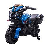HOMCOM Moto électrique Enfant 6 V 3 Km/h Effet Lumineux et sonore roulettes Amovibles Repose-Pied valises latérales métal PP Bleu Noir