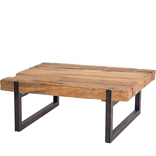 Table Basse Industrielle Teck et métal recyclés 120x60cm rectangulaire
