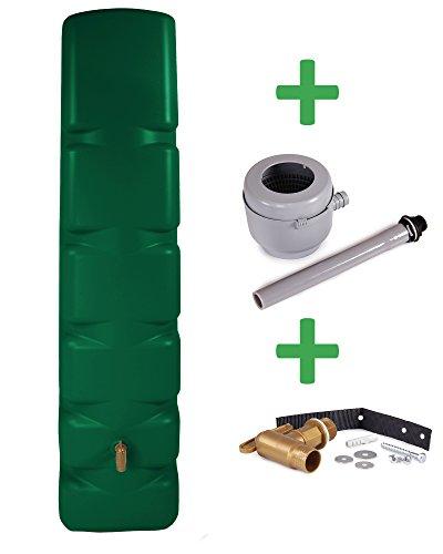 Preisvergleich Produktbild Ondis24 Basic Wandtank 300 L Regentonne Wassertank dunkelgrün mit Auslaufhahn und Füllautomat