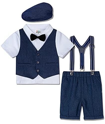 mintgreen Jungen Gentleman Kurzarm Hemd+Weste+Hose+Mütze Outfit Set, Royal Blau, 3-4 Jahre (Herstellergröße : 110)