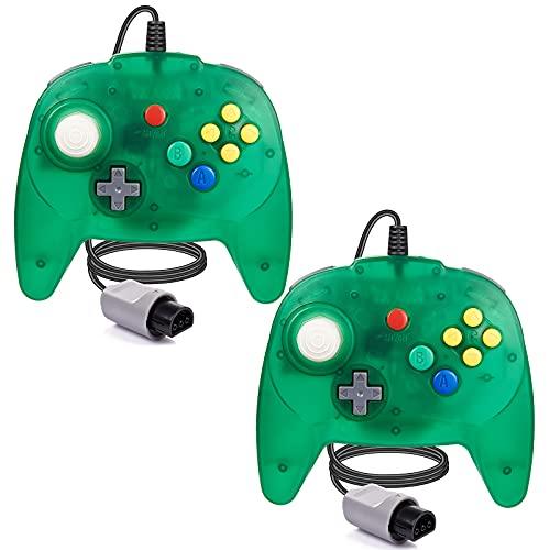 [Nueva versión] 2 paquetes para controlador N64, mando de juego para N64 – Plug & Play (versión USB no PC) (Joystick del Japón), verde transparente
