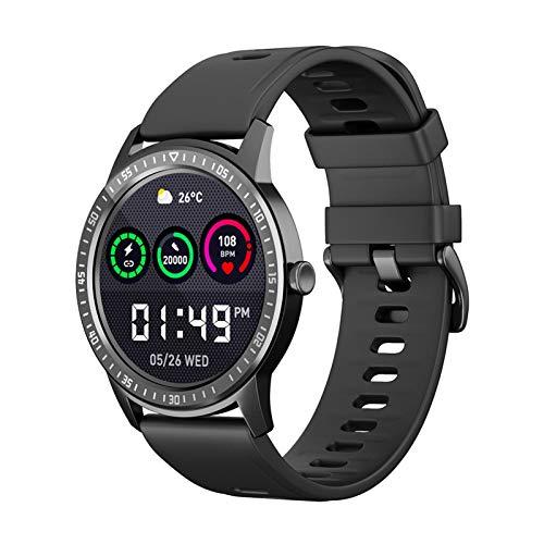 YNLRY Monitor de ritmo cardíaco, reloj inteligente impermeable, para información Android, monitor de ritmo cardíaco, fitness (color a escala negra)