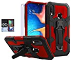 Coverl Samsung Galaxy A20/ A30 Case (Not Fit A20S) with Tempered Glass Screen Protector, Military Grade Protective Phone Case with Belt Clip Kickstand for Samsung Galaxy A20/ A30 (Red)