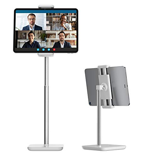 """Tounee Tablet Stand, Heavy Duty Aluminum Tablet Holder Mount with Adjustable Height from 13.8"""" to 19.2"""", Compatible with iPad Mini Air Pro 12.9, Galaxy Tab, Kindle, Cell Phones (4.7''-12.9'') - White"""