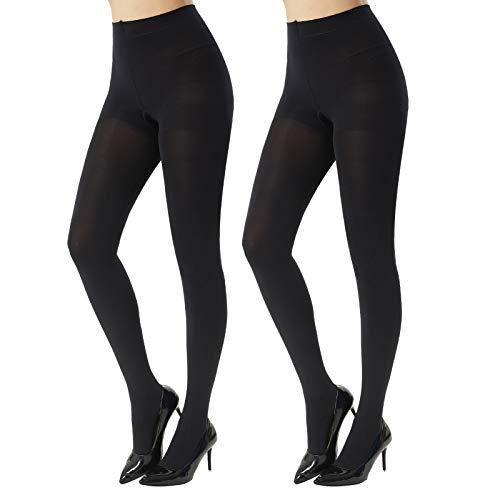 MANZI Women's 2 Pairs Super Opaque Tights for Women 120 Denier Control Top(Black,Small)