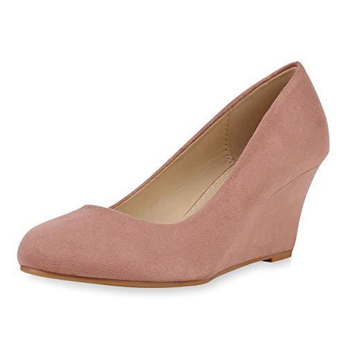 SCARPE VITA Damen Keilpumps High Heel Wedges Keilabsatz Schuhe Wildleder-Optik Pumps Klassische Absatzschuhe 192592 Altrosa 37