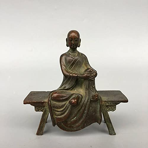 LBSST Chinesische Bronze Buddhismus Hocker Buddha Buddhistische Mönch Statue Viel Glück Geschenk Handmade Craft Home Decoration