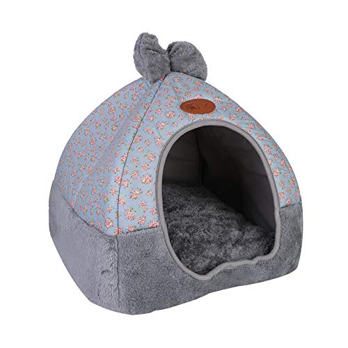 laamei Self-Warming Pet Cat Bed Tent House, Un-slip Foldable Comfortable Animals Cave Nest Sleeping Bed Puppy with Removable Washable Cushion Pillow for Winter