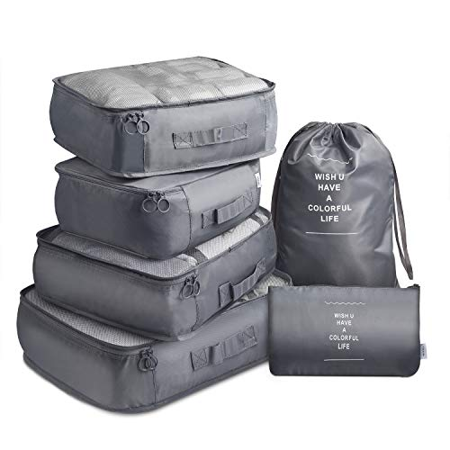 Travel Packing Cubes VAGREEZ Lightweight Luggage Organizers Bags Set for Carry on Suitcase