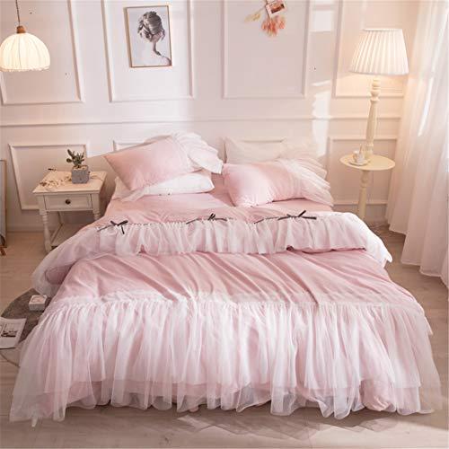 Juego de Ropa de Cama de Encaje de algodón Borla Princesa Doble Queen Size King Size Falda de Cama de Boda Style1 Bed Skirt 180x200cm Bed 4pcs