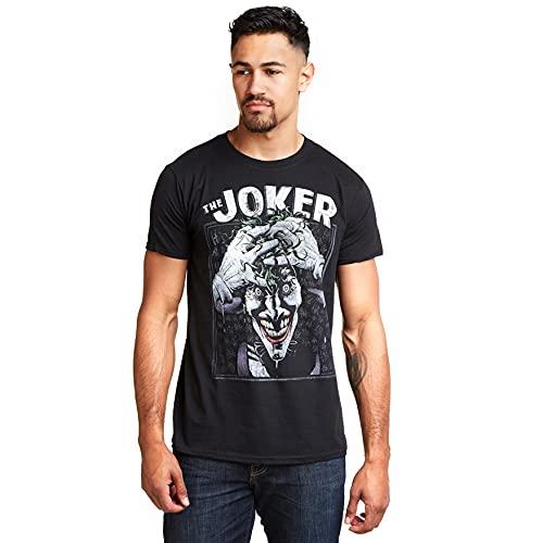 DC Comics Crazed Joker Camiseta, Negro (Black Blk), Small para Hombre