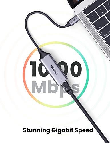 UGREEN USB C zu Ethernet Adapter Gigabit USB C auf RJ 45 LAN Adapter Kompatibel mit Thunderbolt 3 MacBook Pro, MacBook Air, iPad Pro, Galaxy S20 S10 Note10 A70, Lenovo Ideapad, Surface Go usw.